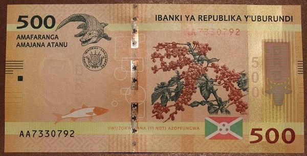 Бурунди 500 франков 2015 год