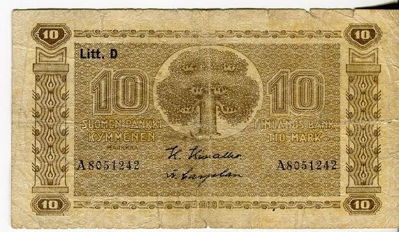 Финляндия 10 марок 1939 год