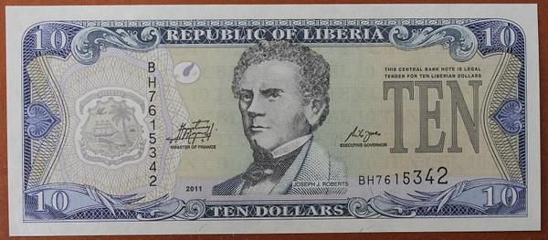 Либерия 10 долларов 2011 год