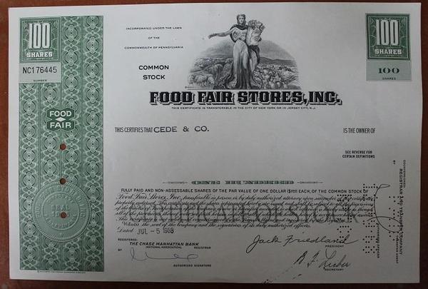 США.Акция Food Fair Stores,inc
