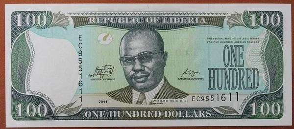 Либерия 100 долларов 2011 год