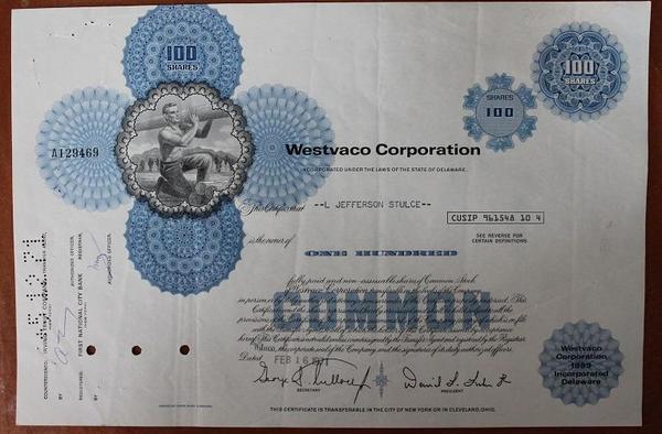 США.Акция Westvaco Corporation
