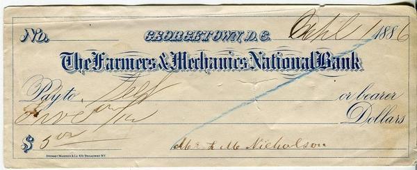 Чек.США.Джорджтаун.Национальный банк The Fermers & Mechanics