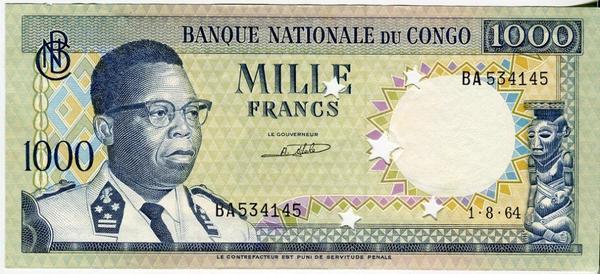 Конго 1000 франков 1964 год