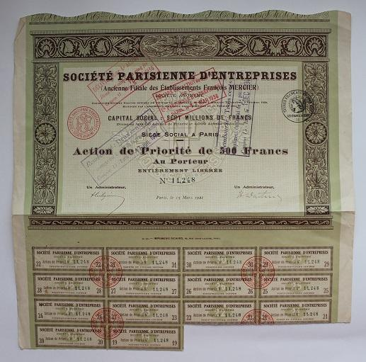 Франция. Акция на предъявителя 500 франков 1921 год