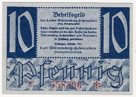 Германия 10 пфеннигов 1947 год Вюртемберг-Гогенцоллерн