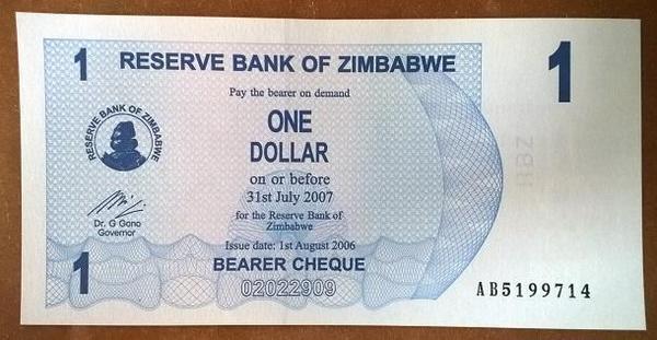 Зимбабве агро-чек 1 доллар 2007 год
