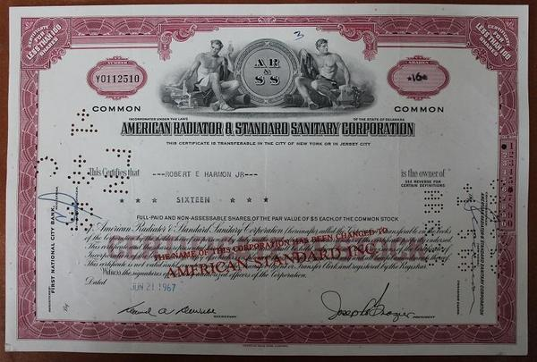 США.Акция American Radiator & Standard Sanitary Corporation