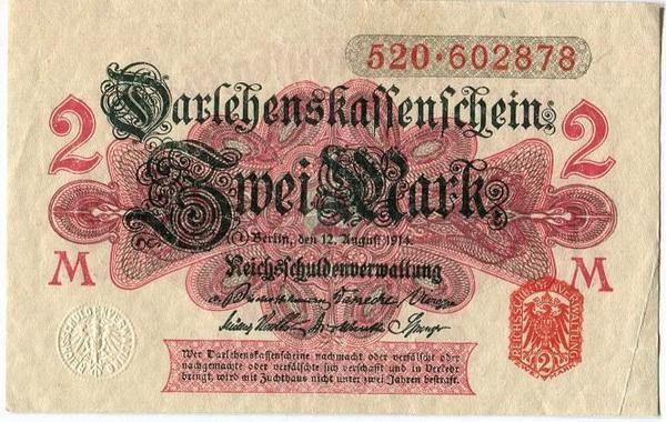 Германия 2 марки 1914 год