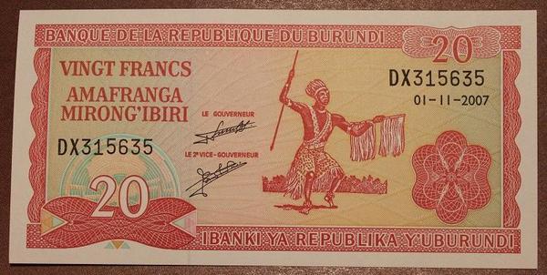 Бурунди 20 франков 2007 год