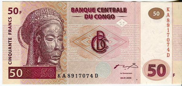 Конго 50 франков 2000 год