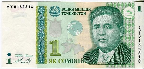 Таджикистан 1 сомони 1999(2010) год