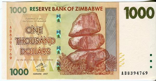 Зимбабве 1000 долларов 2007 год